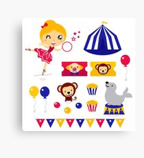 Circus design elements collection : Circus girl with items Canvas Print