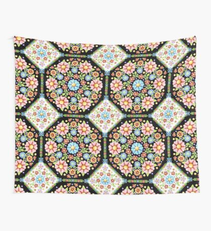 Millefiori Floral Tile Wall Tapestry