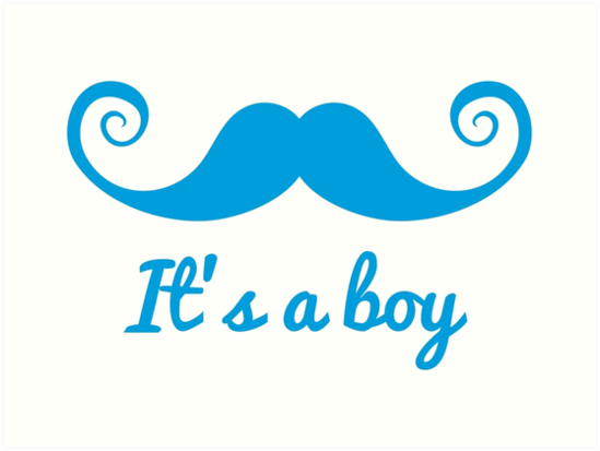 Its A Boy Text With Blue Mustache For Baby Shower By Beakraus