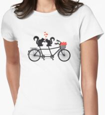 tandem bicycle with squirrels Womens Fitted T-Shirt