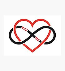 never ending love, red heart with infinity sign Photographic Print