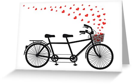 tandem bicycle and flying red hearts for Valentine's day, wedding invitation by beakraus
