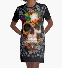 Halloween sugar skull with butterfly Graphic T-Shirt Dress
