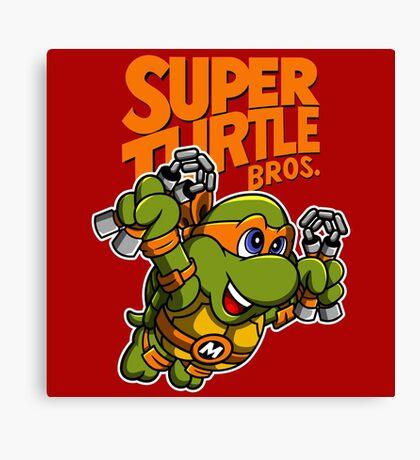 Super Turtle Bros - Mikey Canvas Print