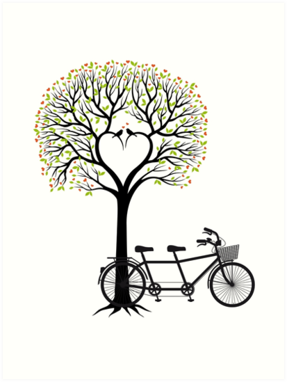 heart wedding tree with birds and tandem bicycle art prints by
