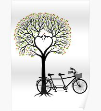 Heart wedding tree with birds and tandem bicycle  Poster