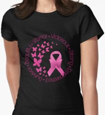 Breast Cancer Pink Ribbon Butterflies  Womens Fitted T-Shirt