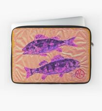 Gyotaku - Yellow Perch - Pink Fish Laptop Sleeve
