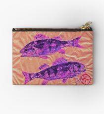 Gyotaku - Yellow Perch - Pink Fish Studio Pouch