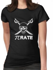 Pi Rate white Womens Fitted T-Shirt