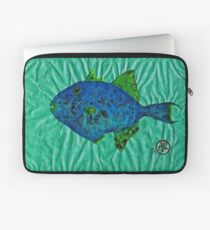 Gyotaku - Triggerfish - Queen Triggerfish Laptop Sleeve