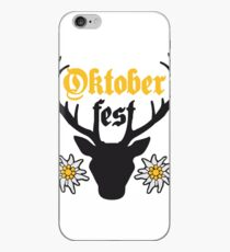 edelweiss flowers text deer antlers horns oktoberfest silhouette black shirt cool design iPhone Case