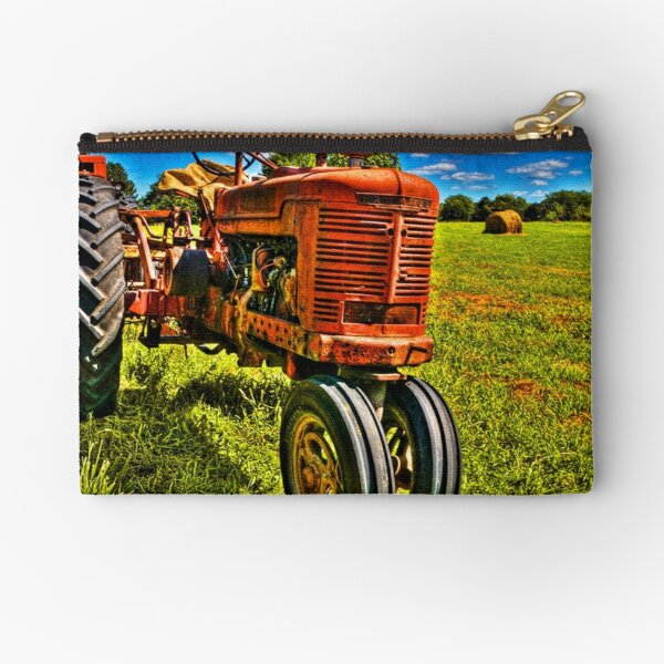 Farmall Tractor in Hayfield Zipper Pouch