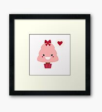 New manga Christmas tree in shop. Pink red Framed Print