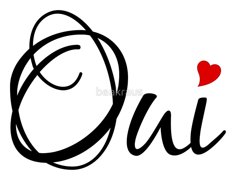 Quot Oui Yes French Word Art With Red Heart Quot By Beakraus