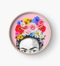 Frida Kahlo Kopf Blumen Uhr
