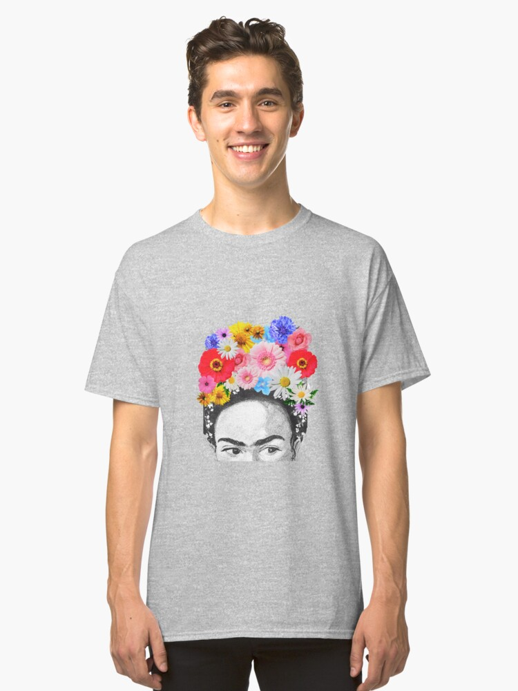 frida kahlo head flowers Classic T-Shirt Front