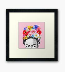 Frida Kahlo Kopf Blumen Gerahmtes Wandbild