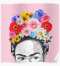frida kahlo head flowers Poster