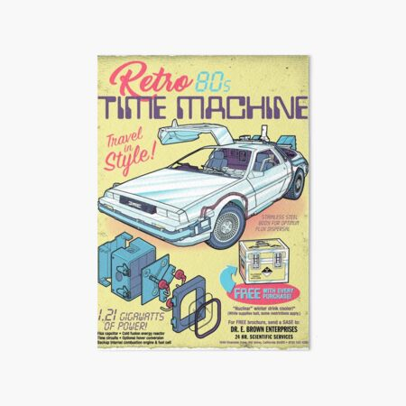Retro Time Machine Art Board Print