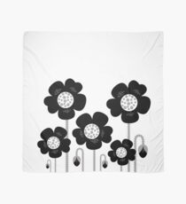 New black and white stylish floral art. BW, monochrome Scarf