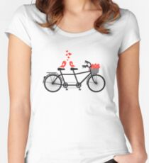 tandem bicycle with cute love birds Women's Fitted Scoop T-Shirt