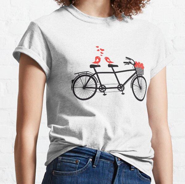 Tandemfahrrad mit niedlichen Liebesvögeln Classic T-Shirt