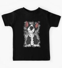 Cheeky English Bull Terrier Black & White Kids Tee