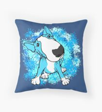 Turquoise English Bull Terrier Dog  Throw Pillow