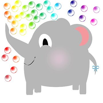 Baby Elephant Blowing Rainbow Bubbles by LuciaJade