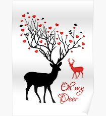 Oh my deer, stag with red hearts, design for Valentine's day, Christmas Poster
