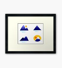 Blue mountains vector icons : blue Framed Print