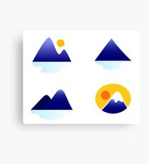Blue mountains vector icons : blue Canvas Print