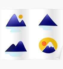 Blue mountains vector icons : blue Poster