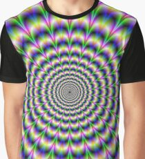Psychedelic Pulse in Green Blue and Pink Graphic T-Shirt