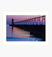 South Haven Lighthouse after Sundown with Reflections Art Print