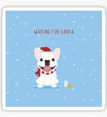 Frenchie Waiting for Santa - White Edition Sticker