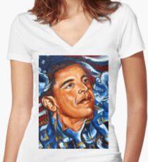 President Obama Women's Fitted V-Neck T-Shirt