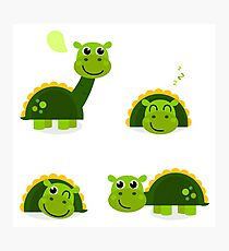 Cartoon dino collection illustration : green! Photographic Print