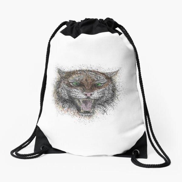 Angry Tiger, HG White Drawstring Bag