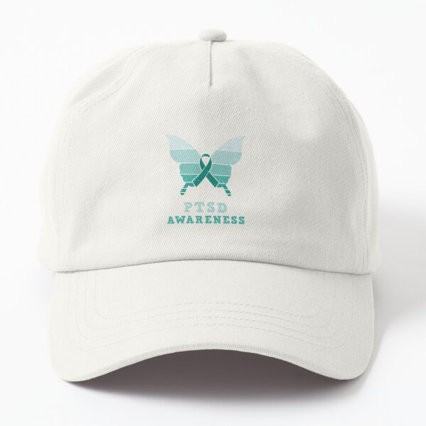 Butterfly-PTSD-Awareness-Teal-Ribbon Dad Hat