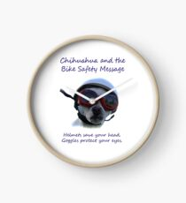 Chihuahua and the Bike Safety Message Tee and Sticker Clock