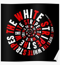 White Stripes Circle Poster