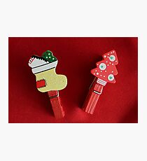 Clothes wooden clips with Christmas decorations Photographic Print