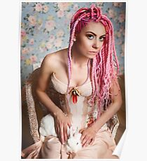 Freaky young woman in vintage corset  Poster