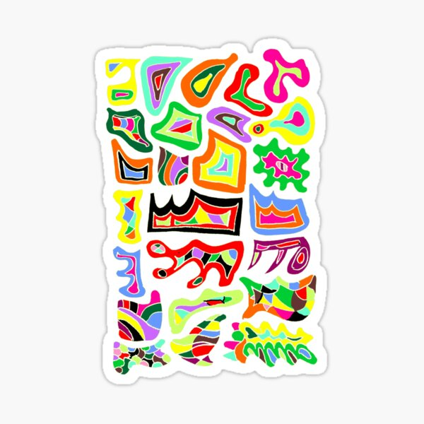 FELLING GROOVY | THE COLOUR RIOT | HAND DRAWN PSYCHEDELIC WHITE BACKGROUND Sticker
