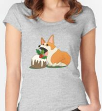 Christmas Corgi Fitted Scoop T-Shirt