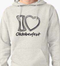 cool black oktoberfest i love i love gingerbread heart bavaria blue white delicious food blank writing without text frame outline heart shape design Pullover Hoodie