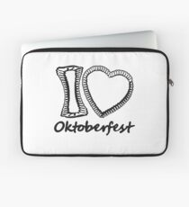 cool black oktoberfest i love i love gingerbread heart bavaria blue white delicious food blank writing without text frame outline heart shape design Laptop Sleeve