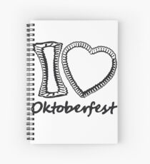 cool black oktoberfest i love i love gingerbread heart bavaria blue white delicious food blank writing without text frame outline heart shape design Spiral Notebook